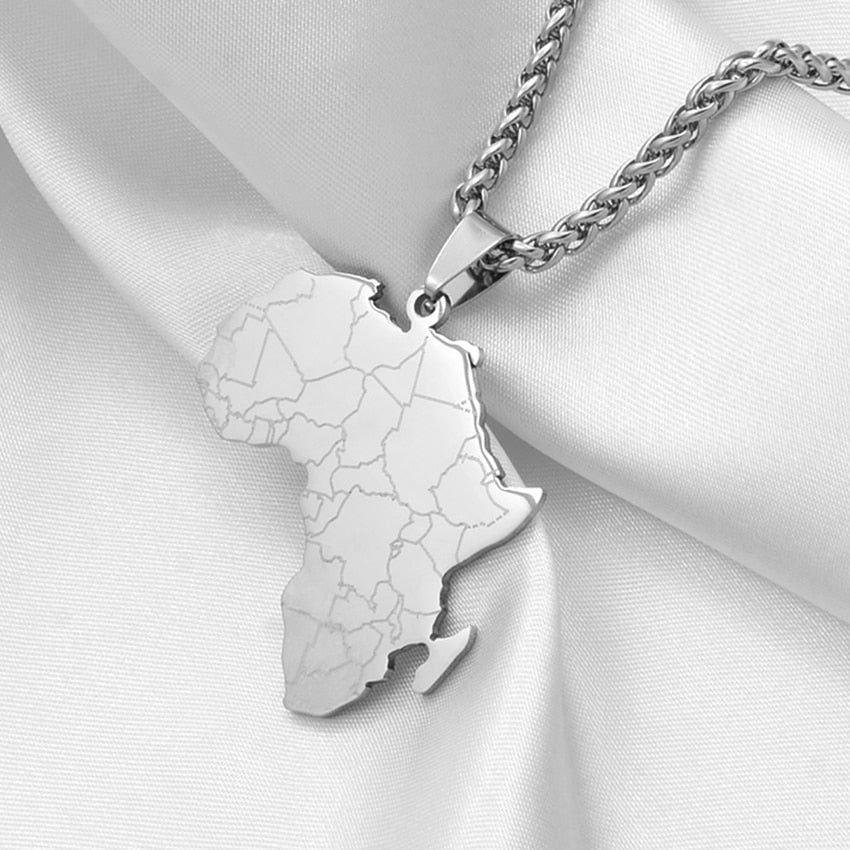 Hip-hop Style Africa Map Pendant Necklaces