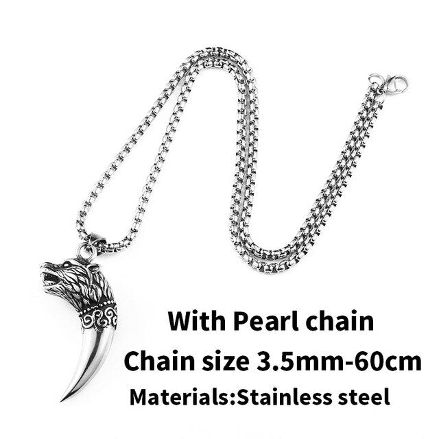 Steel soldier vintage viking wolf fang tooth ring 316l stainless steel choker chain popular animal jewelry male female gift
