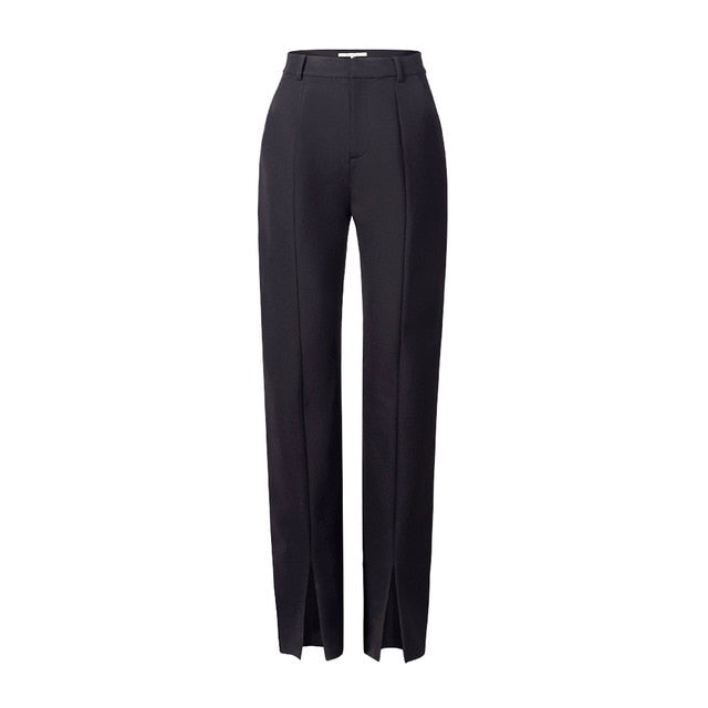 AEL Spring New Ladies Black Pencil Pants bottom split Casual Pants Simple slim Elastic long Trousers For Women