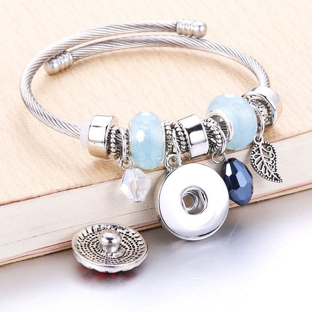 Trendy Elastic metal beading Snap Bracelet Snap Button Bracelet Bangles fit 18MM Snap Jewelry flower beads making Jewelry