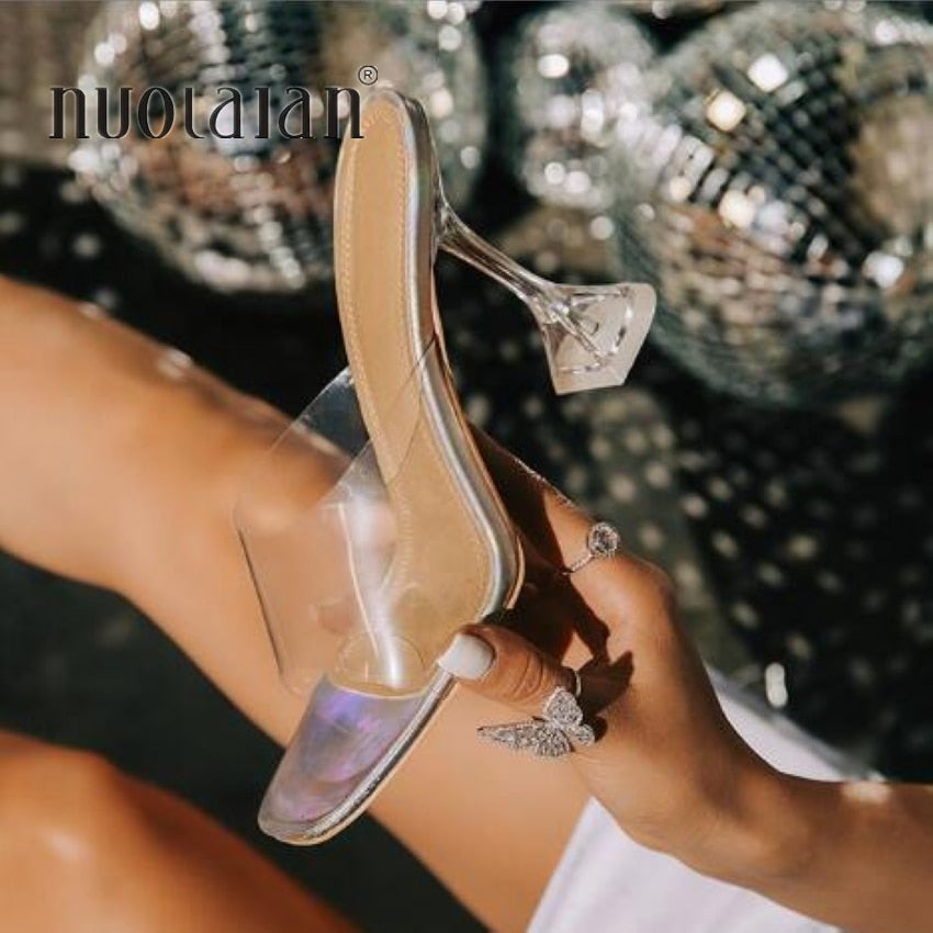 Fashion Summer Sandals PVC Crystal Open Toed High Heels Women Transparent Heel Sandals Slippers Pumps 10.5CM Big Size 41 42
