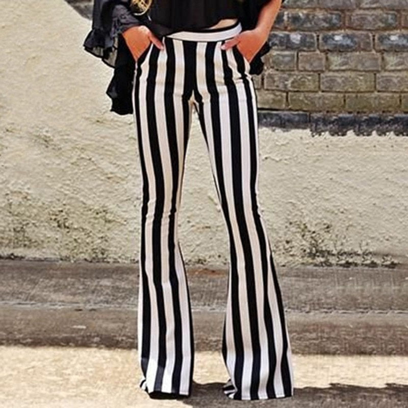 Women Loose Trousers Women's Elegant Black Vertical Striped High Waist Pocket Wide Leg Pants Women Bell Bottoms Flare Trousers