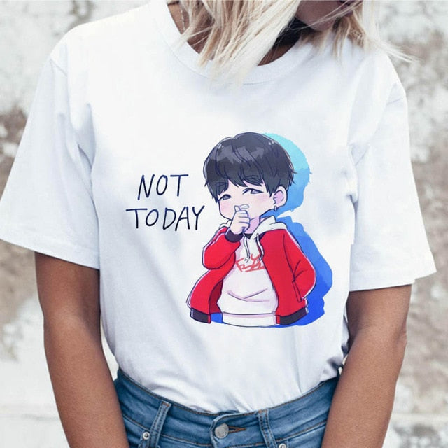 Kpop T Shirt JIN SUGA J HOPE Women JIMIN V JUNGKOOK Top Tshirt for K pop Korean Tees Funny Graphic Female T-shirt K-pop