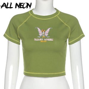 ALLNeon E-girl Butterfly Graphic and Letter Printing Stitch Green Crop Tops