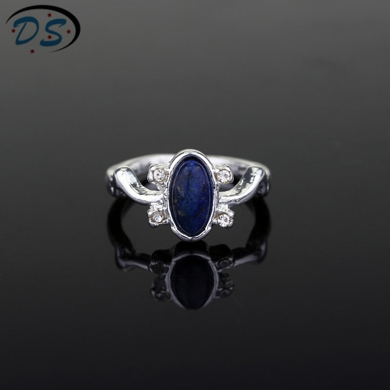 1 pc The Vampire Diaries Rings Elena Gilbert Daylight Rings Vintage Crystal Ring With Blue Lapis Fashion Movies Jewelry Cosplay
