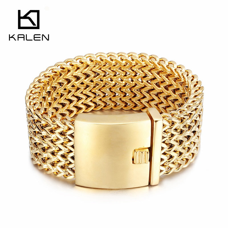 Kalen New Stainless Steel Link Chain Bracelets High Polished Dubai Gold Mesh Bracelets Men Cool Jewelry Accessories Gifts