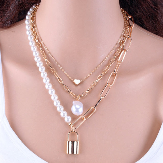 KMVEXO Fashion 2 Layers Pearls Geometric Pendants Necklaces For Women Gold Metal Snake Chain Necklace New Design Jewelry Gift