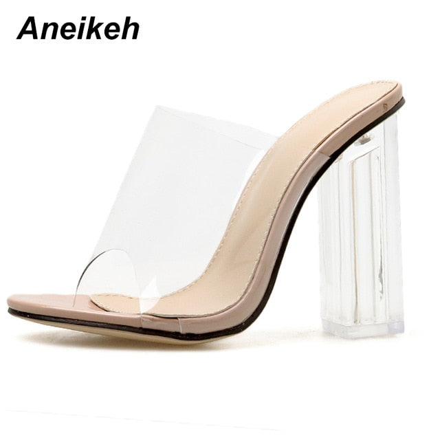 Aneikeh New Women Sandals PVC Jelly Crystal Heel Transparent Women Sexy Clear High Heels Summer Sandals Pumps Shoes Size 41 42