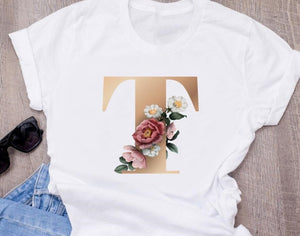 Custom name letter combination women's High quality printing T-shirt Flower letter Font A B C D E F G Short sleeve Clothes