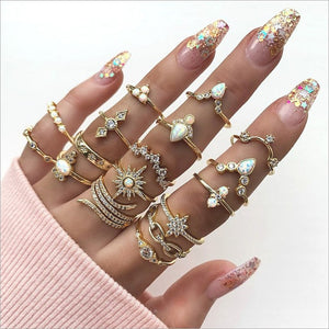 13pcs/set Bohemian Rings Crystal Star Crown Cross Snake Drops  Geometry Gold Ring Set Charm Joint Ring 2020 Fashion Jewelry