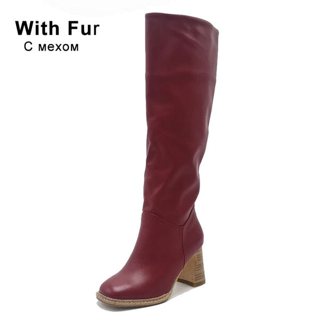 Taoffen Size 34-43 2021 INS Women Knee High Heel Boots Lady Riding Botas Warm Winter Shoes Women Sexy Square Toe Casual Footwear