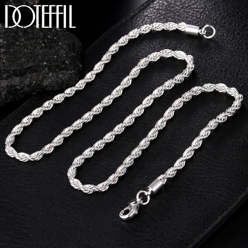 Sterling Silver 16/18/20/22/24 Inch 4mm Twisted Rope Chain Necklace