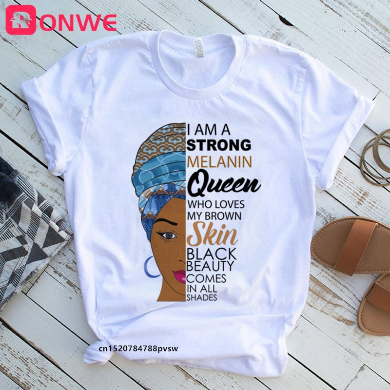 I Am A Strong Melanin Queen t shirt Women Clothes African Black Girl History Month Female T-shirt Melanin Tee Shirt,Drop Ship