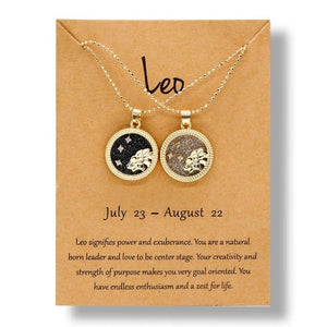 2020 Fashion 12 Constellation Necklaces For Women Men Gold Chain Zodiac Sign Round Pendant Necklace Couple Jewelry Birthday Gift