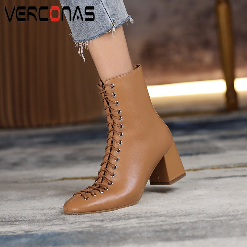 VERCONAS Fashion Woman Ankle Boots High Quality Genuine Leather Handmade Autumn Winter Boots Cross-Tied High Heels Boots Woman