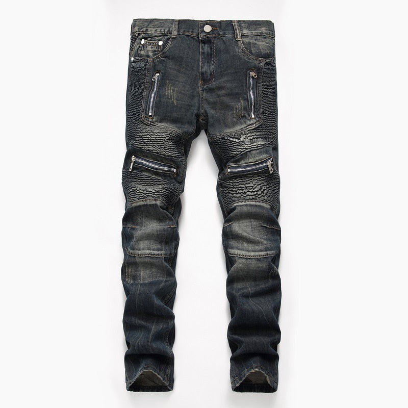 Denim Designer MOTO BIKE Straight Jeans