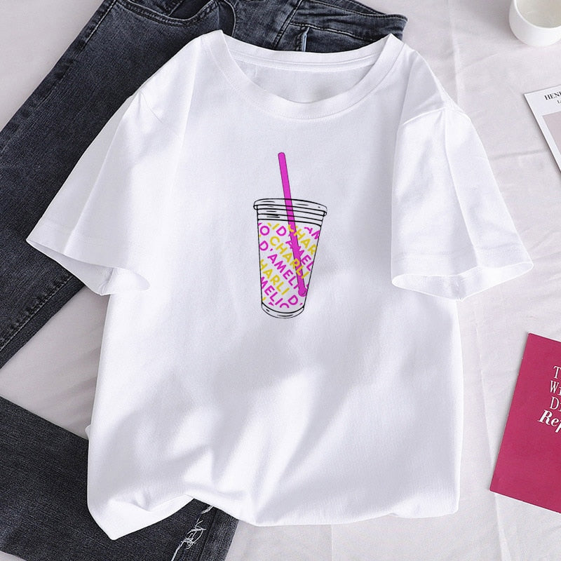 Women's T-shirt O-Neck Short Sleeve Charli DAmelio Ice Coffee Splash Harajuku Graphic T-shirt Girl T-shirt