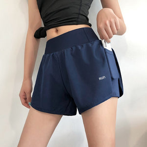Women 2 In 1 Running Shorts Elastic Waist Pocket Tight Yoga Short