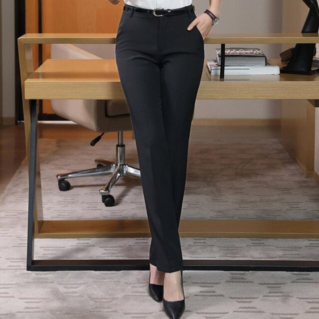 Naviu New Fashion High Quality Women Trousers Plus Size Formal Office Pants Slim Style Straight Bottom