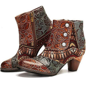 Vintage Splicing Printed Ankle Boots For Women Shoes Woman PU Leather Retro Block High Heels Women Boots 2020