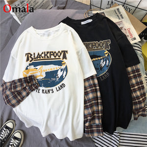 fashion Long Sleeve t-shirt Korean Simple oversized graphic tees Women shirts Leisure Plaid patchwork t shirt white black top