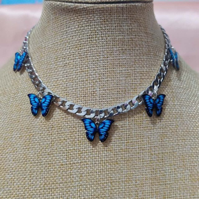 Punk Cubana Neck Chains Butterfly Pendant Necklace for Women Girl Birthday Statement 2020 Vintage Short Choker Aesthetic Jewelry