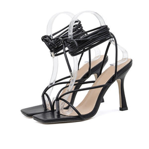 Summer Women Thin High Heels Shoes Sandals Transparent Gladiator Ankle Strap Sexy Pump Female Party Wedding Ladies Plus Size