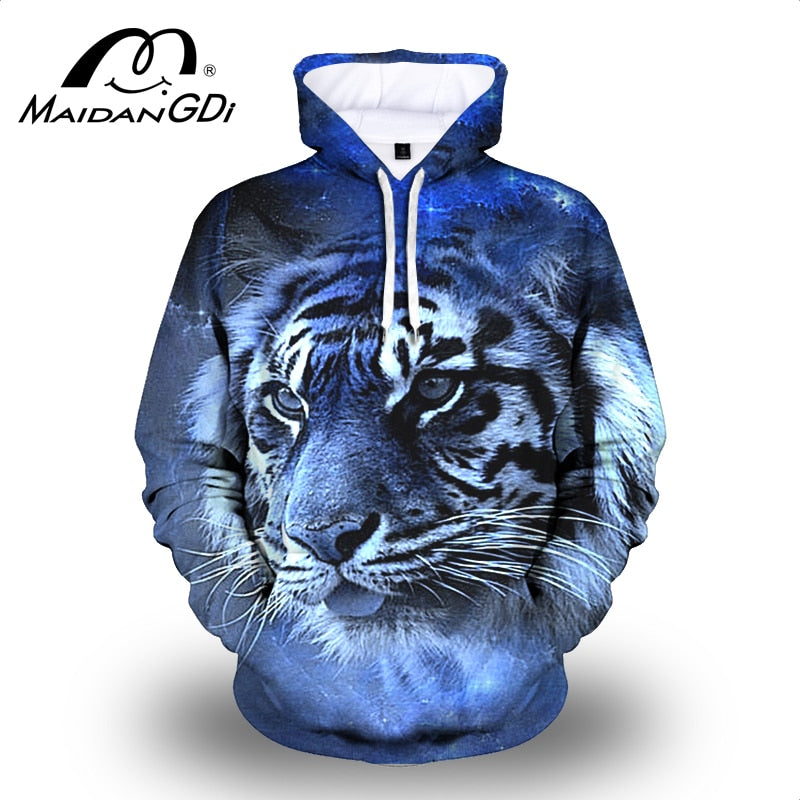 Winter  Pullover Fashion 3D Digital Printing Lion Male Sweatshirt