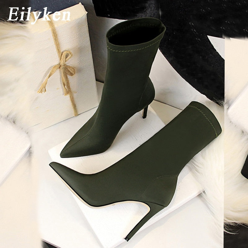 Eilyken 2021 Winter Fashion Women Boots Beige Pointed Toe Elastic Ankle Boots Heels Shoes Autumn Winter Female Socks Boots