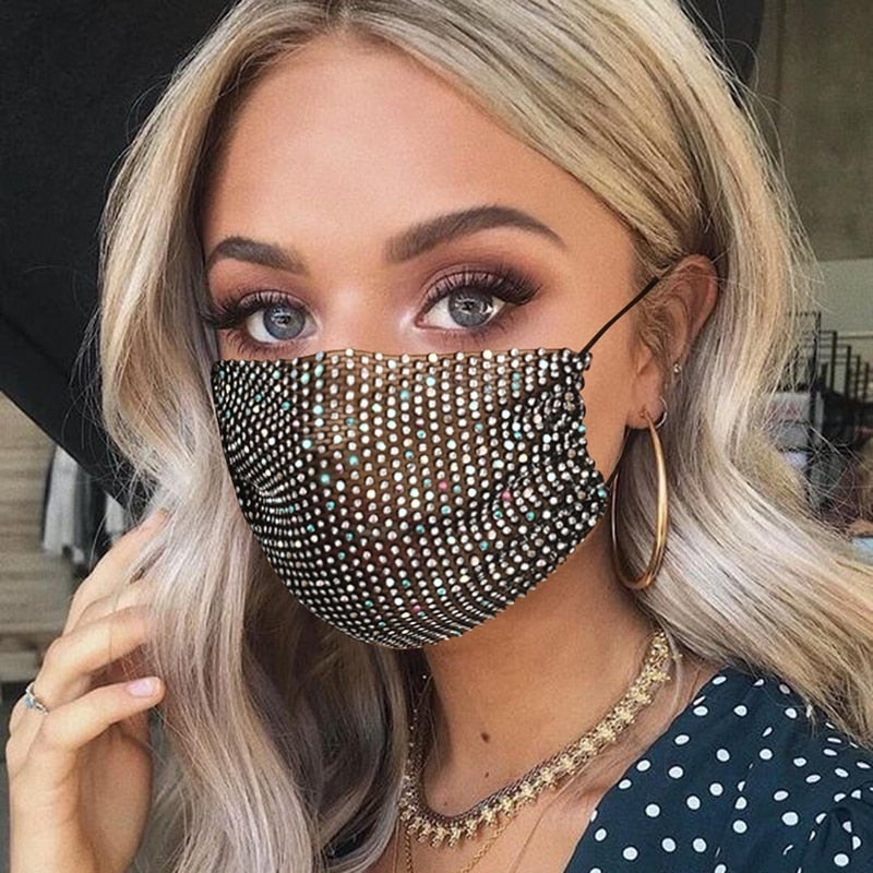 Fashion Masks Sparkly Rhinestone Mask Face Bandana Party Gift