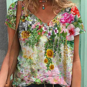 Graphic Tee Shirts Clothing Plus Size 5XL Summer New Fashion Women V-neck Flower Print Short Sleeve Casual Loose T-shirt Y2k Top