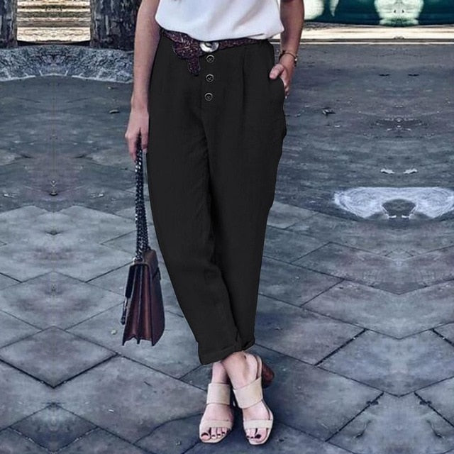 2021 ZANZEA Women Harem Pants Solid Casual Loose Turnip Pants Femme Robe Cotton Linen Trousers Long Pantalon OL Pencil Pants