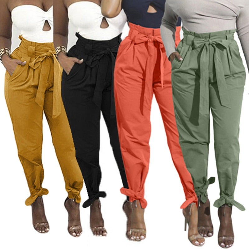 2021 Loose Bow Tie Ruffles Women Pants Casual Solid High Waist Belt Pocket Spring Women's Trousers Female Sashes Pants Bottom