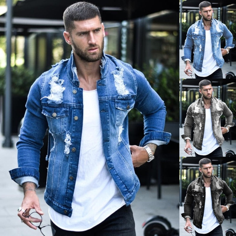 Men  Streetwear Casual Slim Fit Jean Coat