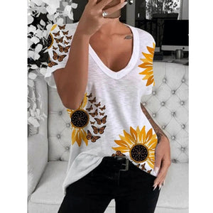 Women's Cotton Printed Short Sleeved Round Neck Casual Loose Ladies T Shirt