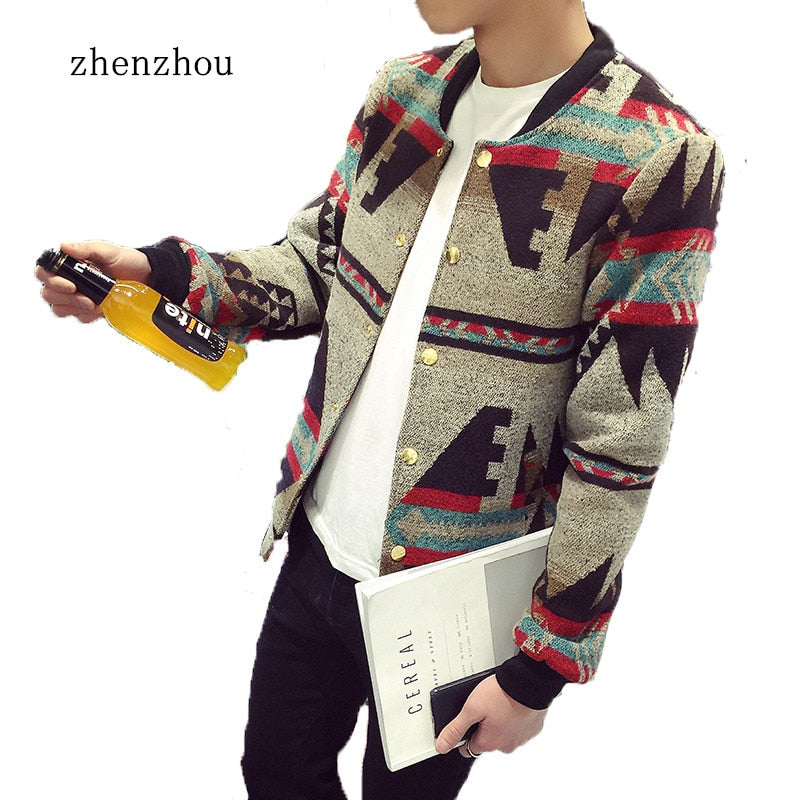 Mens  Patchwork Print Fleece Winter Jacket