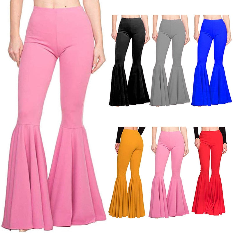 Women High Waist Flare Wide Legging Solid Color Trousers Bell Bottom