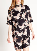 Bird Print Oversized Midi Dress With Choker Neck