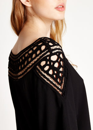 Divine Grace Black Mini Dress With Crochet Insert
