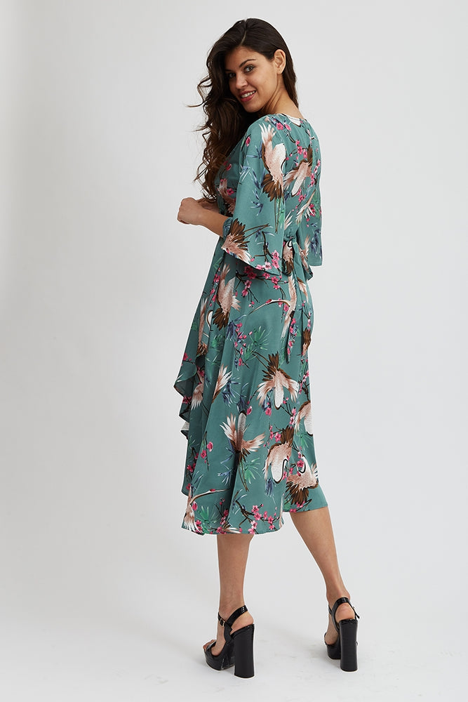 Liquorish Midi Wrap Dress In Green Floral Print