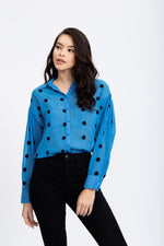 Liquorish Blue Shirt with Embroidered Black Polka Dots
