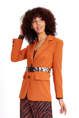 Liquorish Blazer Jacket in Orange with Contrast Animal Printed Belt