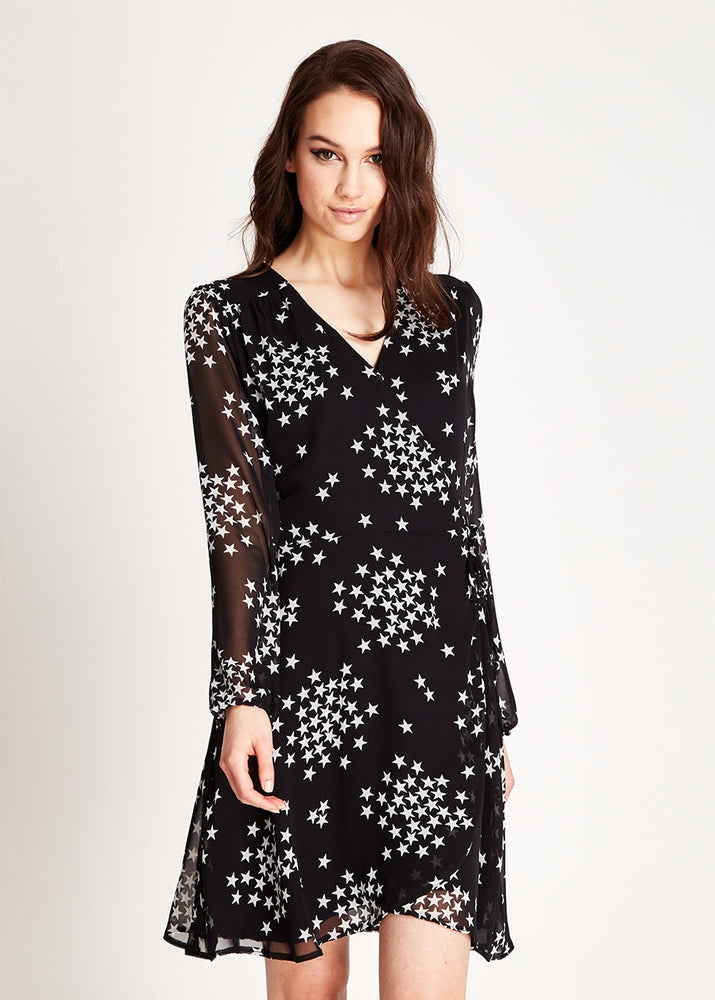 Liquorish Mini Wrap Dress in Star Print With Long Sleeves