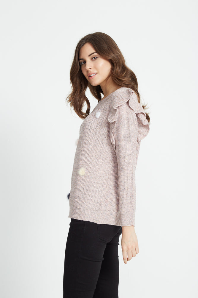 Liquorish Pink Lurex Jumper with Pom Poms