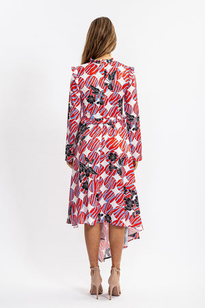 Liquorish Asymmetric Midi Dress in Geometric and Floral Print