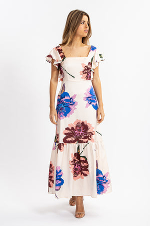 Liquorish Overscaled Floral Print Maxi Dress with Angel Sleeves