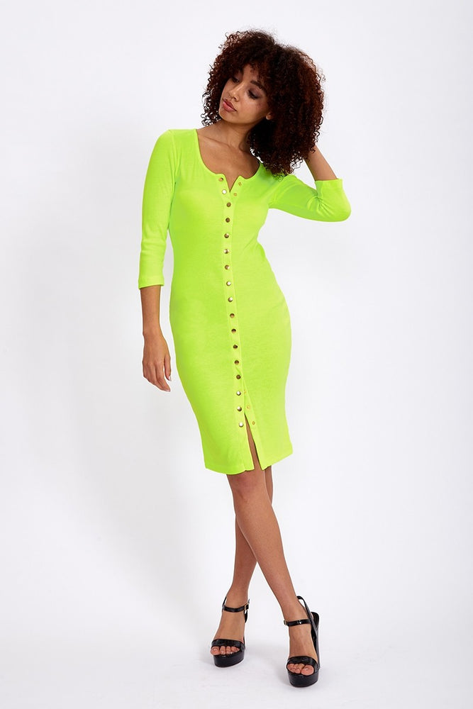 Liquorish Jersey Button up Midi Dress in Neon Yellow