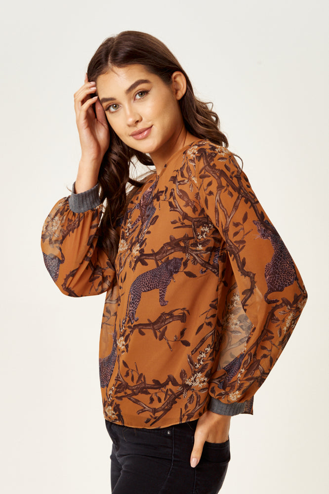Divine Grace Cheetah Print Top with Long Sleeves in Tuscany