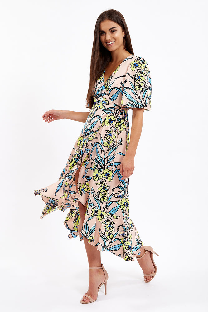 Liquorish Balloon Sleeve Midi Dress in Contrasting Floral Print