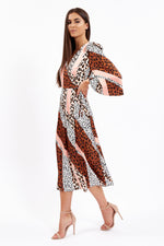 Divine Grace Mix Animal Print Midi Wrap Dress With Puffy Sleeve
